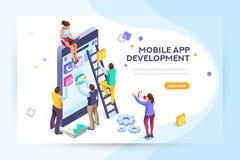 Usuario y promotores de la aplicación móvil ilustración del vector