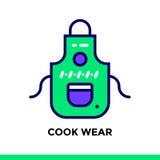 USURA del CUOCO lineare dell'icona del forno, cucinante Pittogramma suita di vettore Immagini Stock