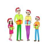 Usura felice del contenitore di regalo della tenuta della famiglia di festa di Natale Fotografia Stock Libera da Diritti