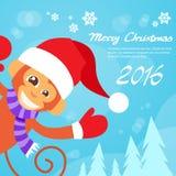 Usura felice Santa Hat New Year Sign di sorriso della scimmia Fotografia Stock Libera da Diritti