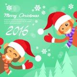 Usura felice Santa Hat New Year Sign di sorriso della scimmia Fotografia Stock