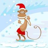 Usura felice Santa Hat Show Peace Two di sorriso della scimmia Fotografie Stock Libere da Diritti