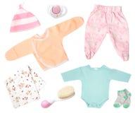 Usura infantile dell'abbigliamento del bambino isolata su bianco Fotografia Stock
