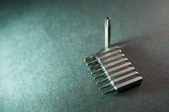 Usuwalni śrubokrętów kawałki, dziewięć z rzędu, torx zdjęcie stock