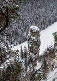 Usva, Felsen, Fluss Stockfotografie