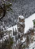 Usva, rocks, river. Winter day on the rocks, a view of the thunderbolt Stock Photography