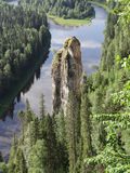 Usvinskie Polen De vinger van de rotsduivel Permanentgebied Rusland Royalty-vrije Stock Afbeelding