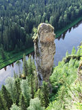 Usvinskie Polen De vinger van de rotsduivel Permanentgebied Rusland Royalty-vrije Stock Fotografie