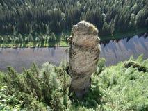 Usvinskie Polen De vinger van de rotsvloek Permanentgebied Rusland Stock Foto's