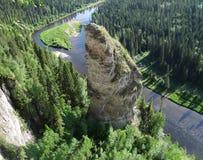 Usvinskie Polen De vinger van de rotsvloek Permanentgebied Rusland Stock Afbeelding