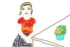 Być usytuowanym dziewczyny w pokoju Obrazy Stock