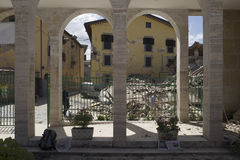 Uszkadzająca architektura po trzęsienie ziemi, Amatrice, Włochy Obraz Stock