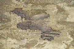Uszkadzający beton z rozłamami Szarość, kolor żółty, brąz textured tło zdjęcie stock