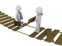 uszkadzający biznesmena bridżowy krzyż Zdjęcia Stock