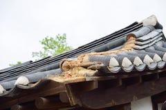 Uszkadzający koreański tradycyjny kafelkowy dach obrazy stock