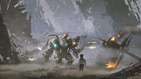 Uszkadzający robot ochraniał chłopiec royalty ilustracja