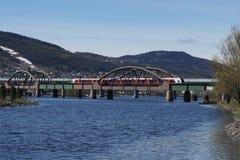 utöver järnvägen för järnväg för broavståndshorisont som sträcker spår royaltyfri bild
