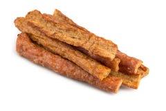 Utłuczona wieprzowina jerky, Suchy wieprzowina ubijanie z mięsnym tenderizer isola Zdjęcie Royalty Free