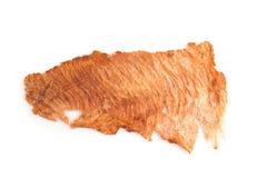 Utłuczona wieprzowina jerky, Suchy wieprzowina ubijanie z mięsnym tenderizer isola Zdjęcia Stock