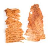 Utłuczona wieprzowina jerky, Suchy wieprzowina ubijanie z mięsnym tenderizer isola Obraz Stock