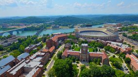 UT campus from above. Overlooking Ayres hall and Neyland Stadium on the Tennessee Stock Photography