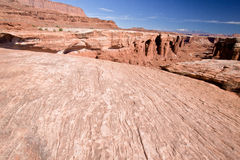 UT-Canyonlands National Pk-White Rim Rd-Monument. The edges of the white rim on the White Rim Road abruptly fall into the canyons below, almost the entire 100 Stock Photography