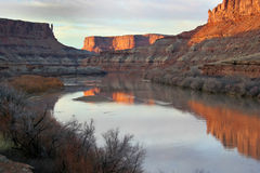 UT_Canyonlands National Pk-White Rim Road. Sunset on the green River in the Labyrinth area Stock Photography