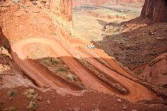 UT_Canyonlands National Pk-White Rim Road. This  a steep portion of White Rim Road that runs from  Potato Bottom to Labyrinth Royalty Free Stock Photo