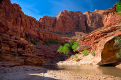 UT_-Paria Canyon Wilderness. The Paria River winds through majestic high cliffs, which leave colorful reflections in its waters Stock Photography