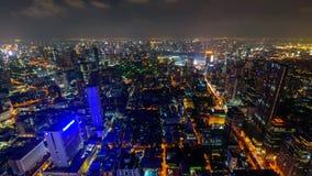 Ut zoomar den höga sikten för den Tid schackningsperioden av den Bangkok staden stock video