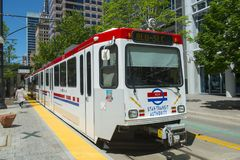 UTA Light Rail em Salt Lake City, Utá, EUA fotos de stock