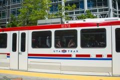 UTA Light Rail i Salt Lake City, Utah, USA arkivbilder