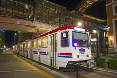 UTA Light Rail i Salt Lake City, Utah, USA royaltyfria bilder