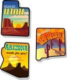 Utah, Arizona y etiquetas engomadas del viaje de New México Imagen de archivo