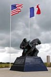 Utah beach with memorial statue. American memorial statue on word war 2 utah beach in normandy france royalty free stock photography