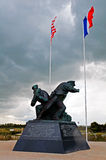 Utah beach with memorial statue Royalty Free Stock Photo