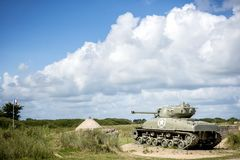 American tank on Utah Beach, Normandy invasion landing memorial. France. royalty free stock photography