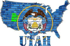 Utah on a brick wall. Illustration Royalty Free Stock Photos