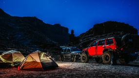 Utah camping site with cars royalty free stock images