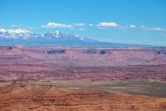 Utah-Canyonlands nationell Parkera-ö i himmelområdes-Grandviewslingan Fotografering för Bildbyråer