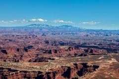 Utah-Canyonlands nationell Parkera-ö i himmelområdes-Grandviewslingan Royaltyfria Foton