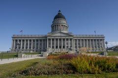 Utah Capital Building, Salt Lake City. Utah Capital Building, behind a bed of flowers, Salt Lake City, Utah, September 2009 Royalty Free Stock Images