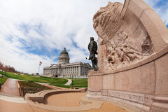 Utah Capitol building with monument and statue Stock Images