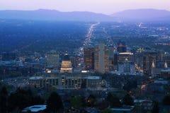 Utah Capitol widok podczas nocy w Salt Lake City Fotografia Royalty Free