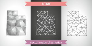 Utah collection of vector design modern maps, gray and black and silver dot outline mosaic 3d map. Set of Utah polygonal mosaic modern maps Royalty Free Stock Image