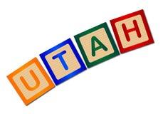 Utah en letras de molde de madera aisladas Foto de archivo libre de regalías