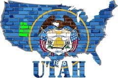 Utah en una pared de ladrillo Fotos de archivo libres de regalías