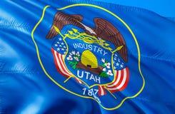 Utah flag. 3D Waving USA state flag design. The national US symbol of Utah state, 3D rendering. National colors and National flag stock images
