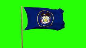 Utah flag waving in the wind. Green screen, alpha stock video