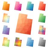 Utah geometric polygonal, mosaic style us state. Utah geometric polygonal, mosaic style us state maps collection. Bright abstract tessellation, low poly style Royalty Free Stock Photography